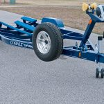 dual axle trailer blue